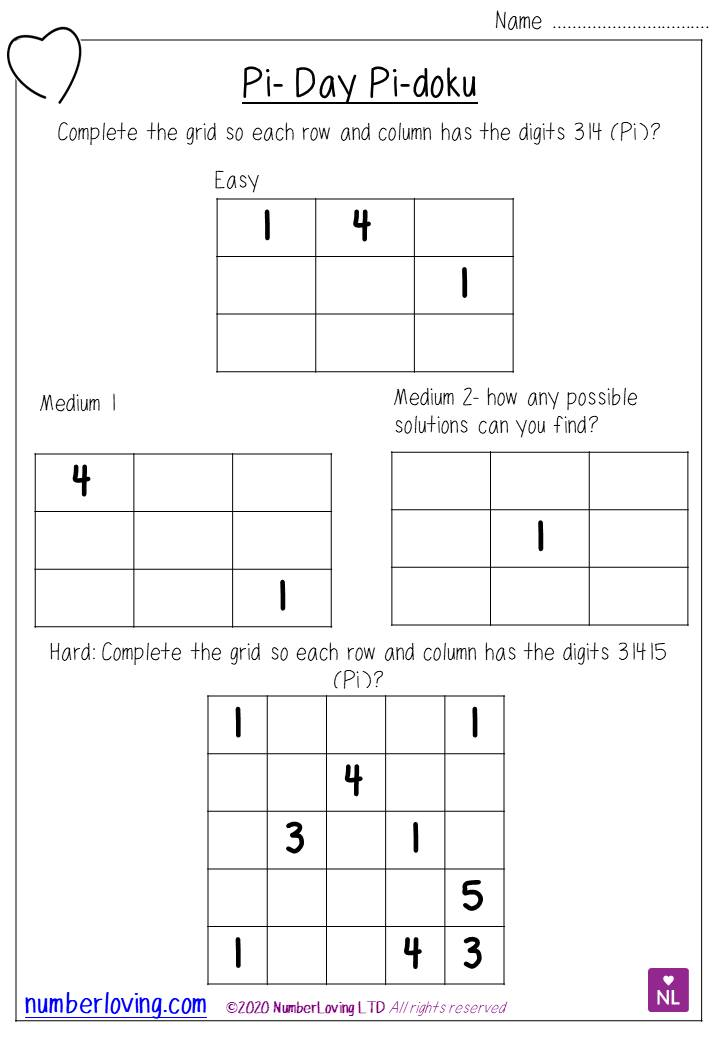 Pi Day Puzzles | Number Loving